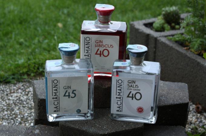 Baciamano Spirits: Gin 45 - Gin Salis 40 - Gin Hibiscus 40